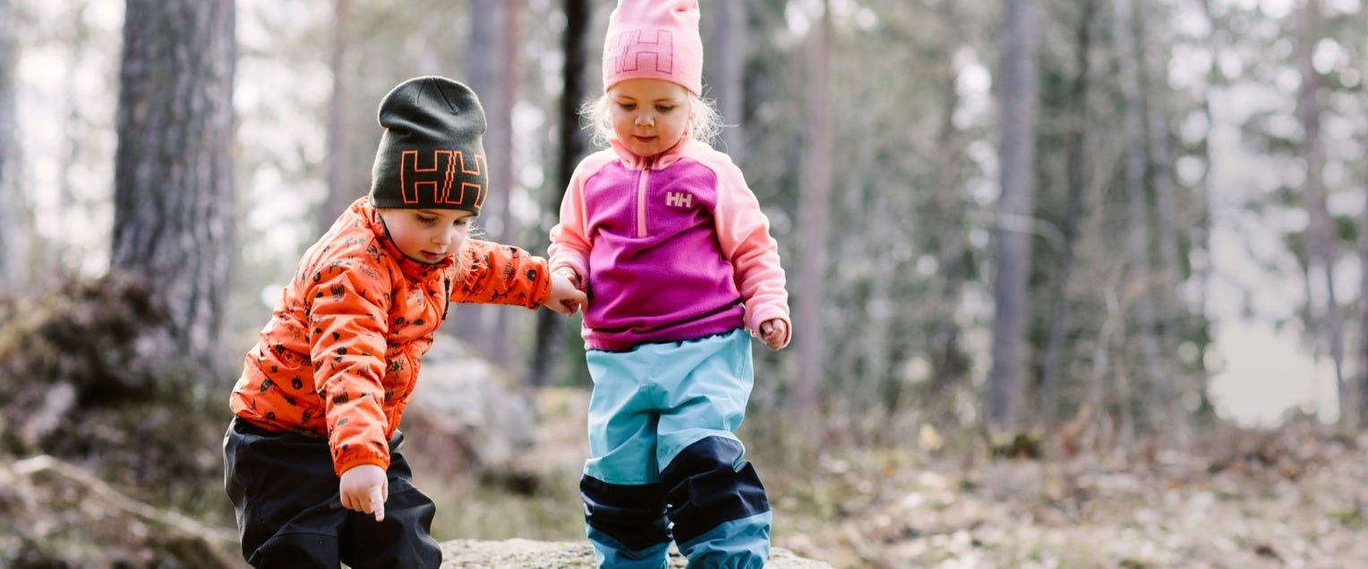 Kids playing in the forest in HH gear