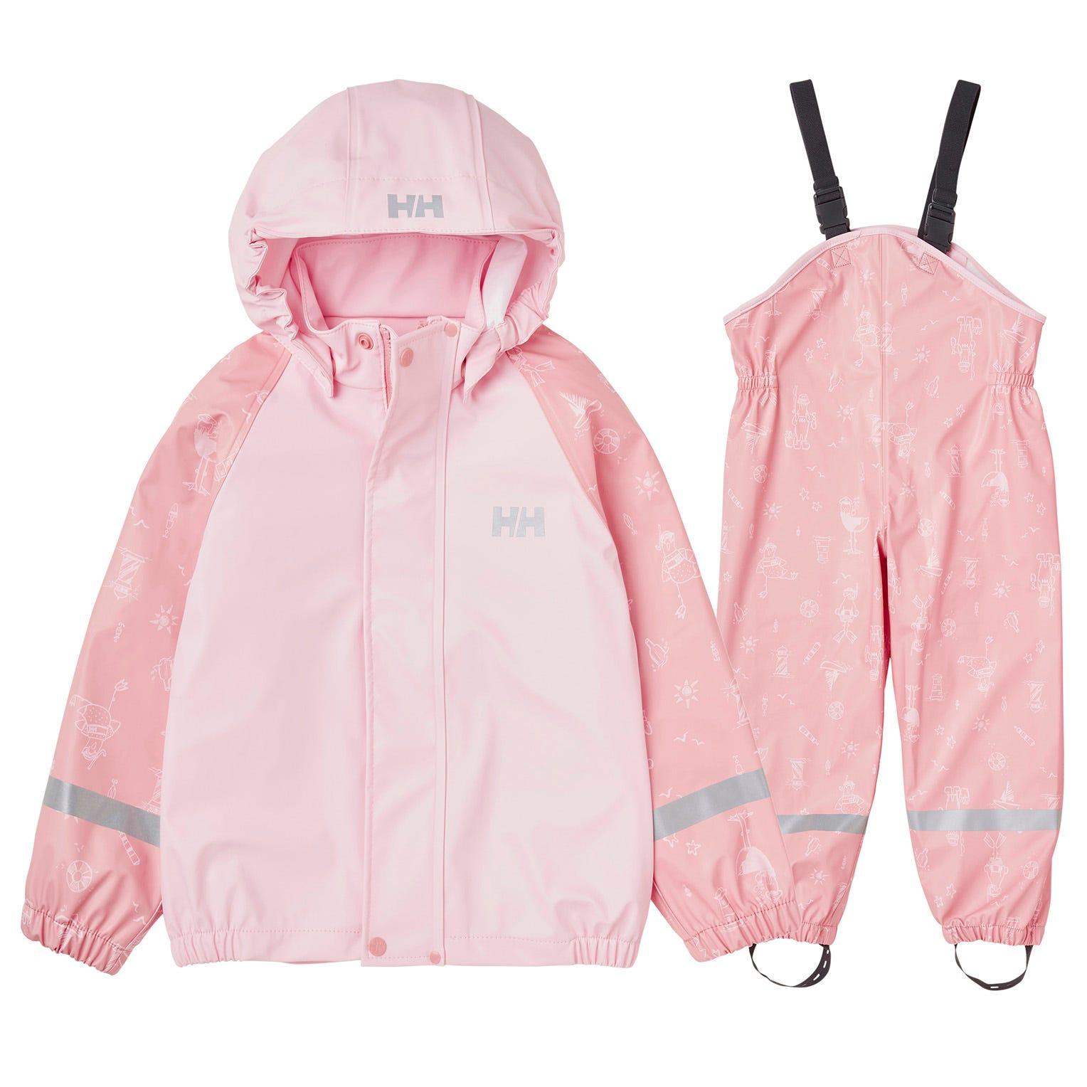 Helly Hansen Kids Bergen All-over-print Pu Rainset Rain Trouser Pink 104/4