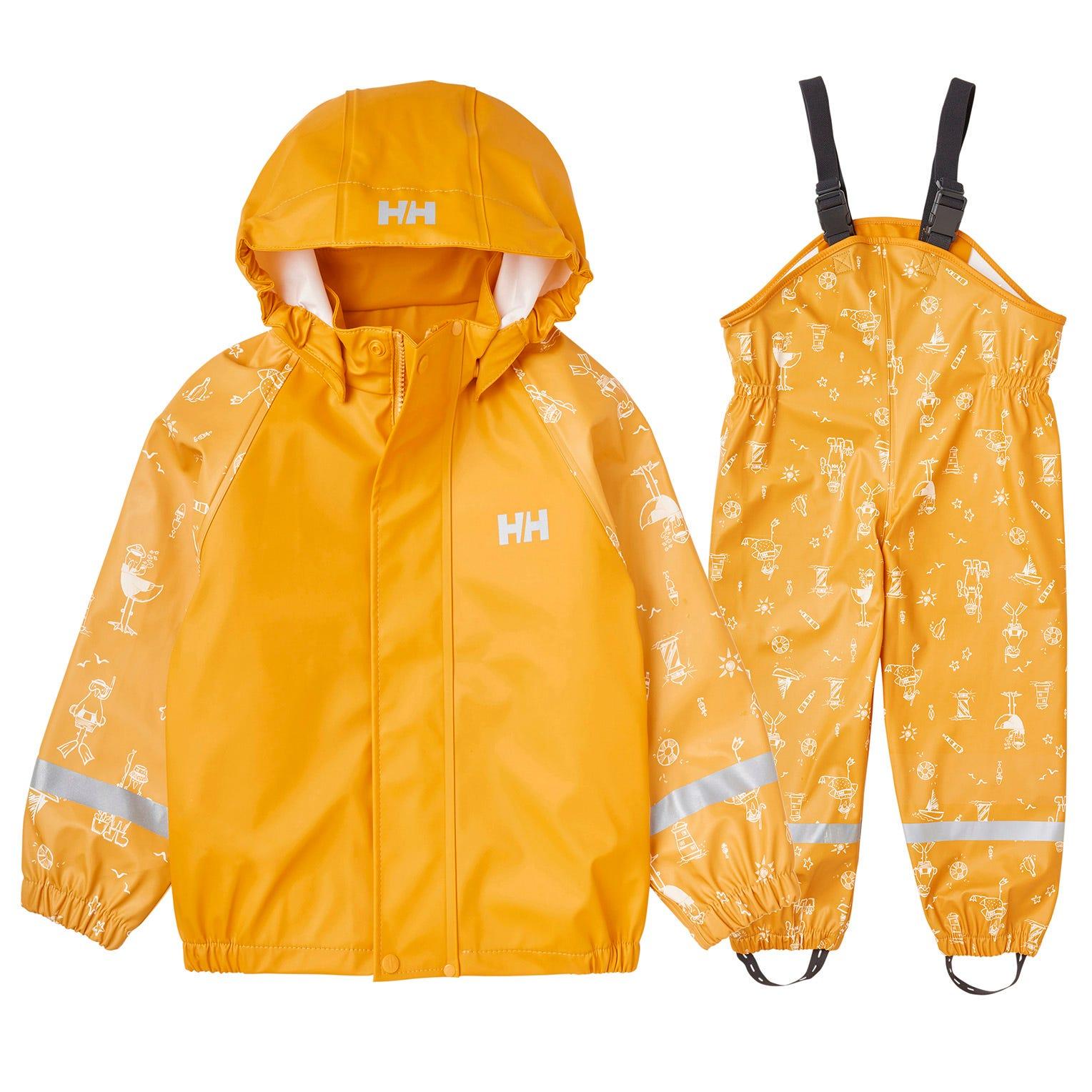Helly Hansen Kids Bergen All-over-print Pu Rainset Rain Trouser Yellow 116/6