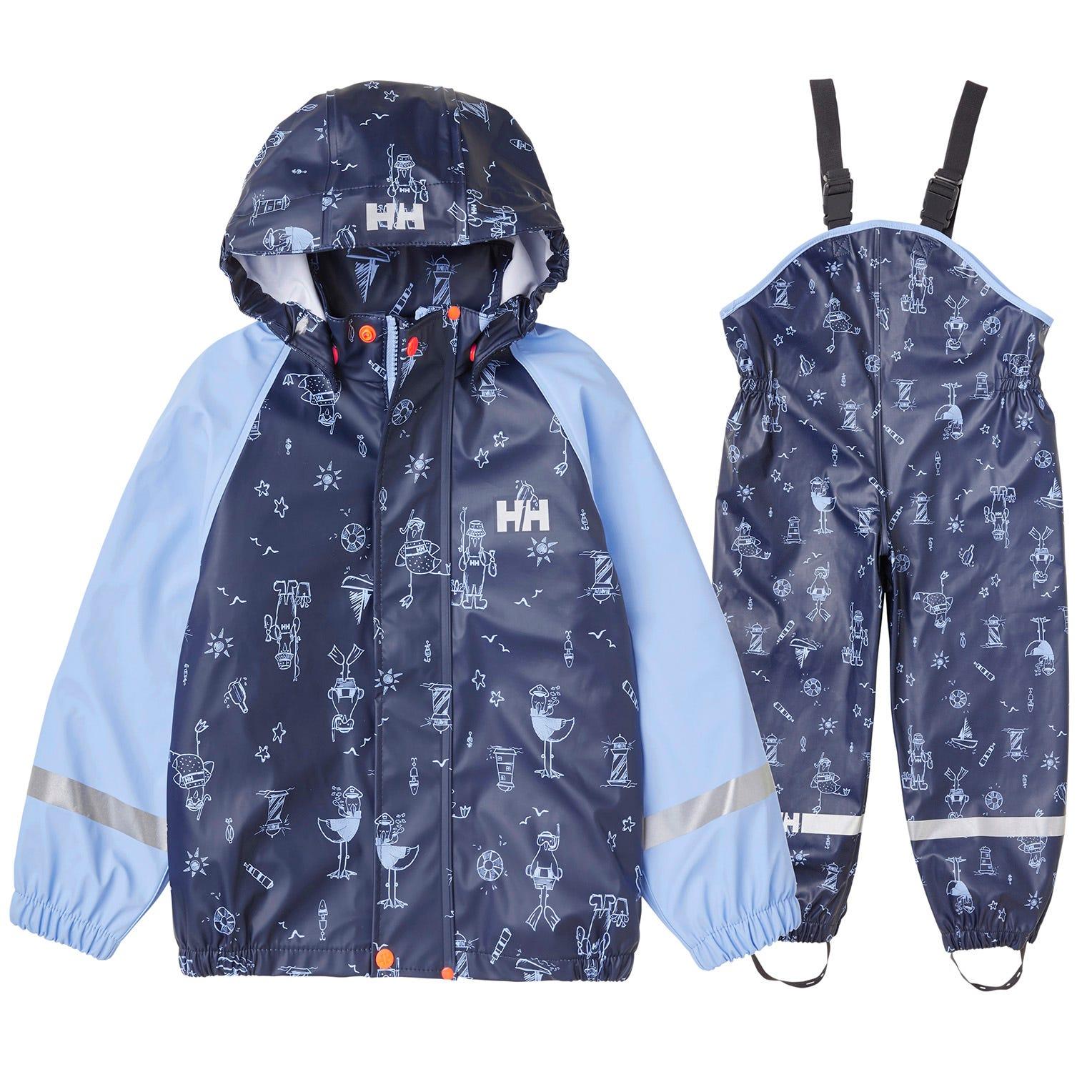 Helly Hansen Kids Bergen All-over-print Pu Rainset Rain Trouser Navy 128/8