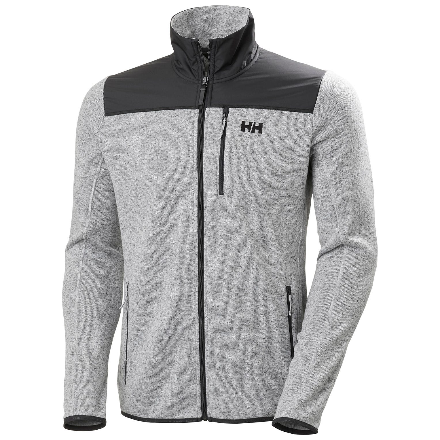 Helly Hansen Mens Varde Knitted Textured Fleece Jacket Grey XL