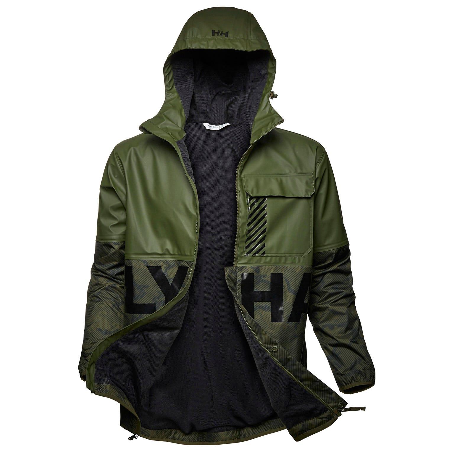 Helly Hansen Mens Active Hybrid Pu Rain Jacket Green M