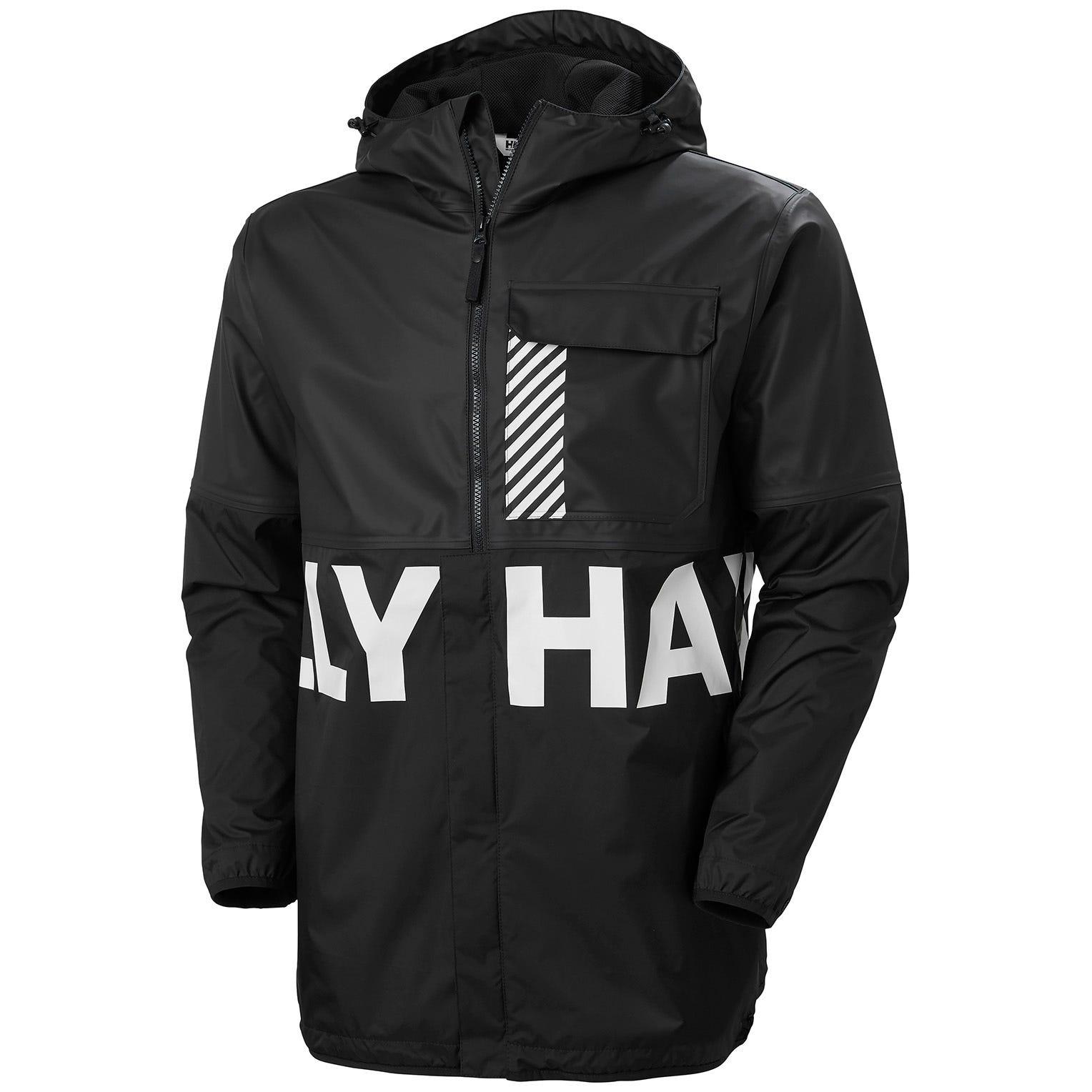 Helly Hansen Mens Active Hybrid Pu Rain Jacket Black M