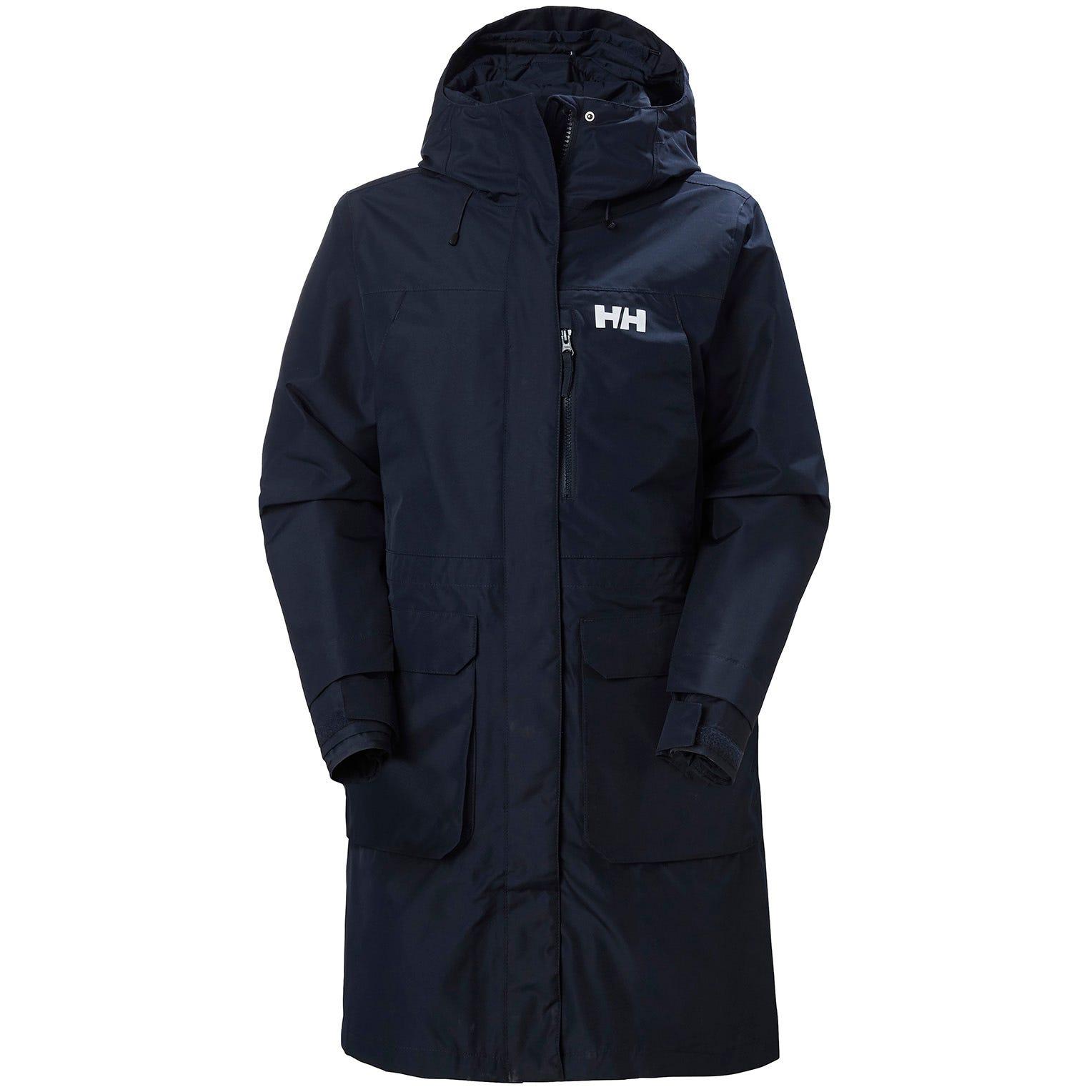 Womens Rigging Waterproof Long Coat | Uk Helly Hansen Womens Parka Navy M