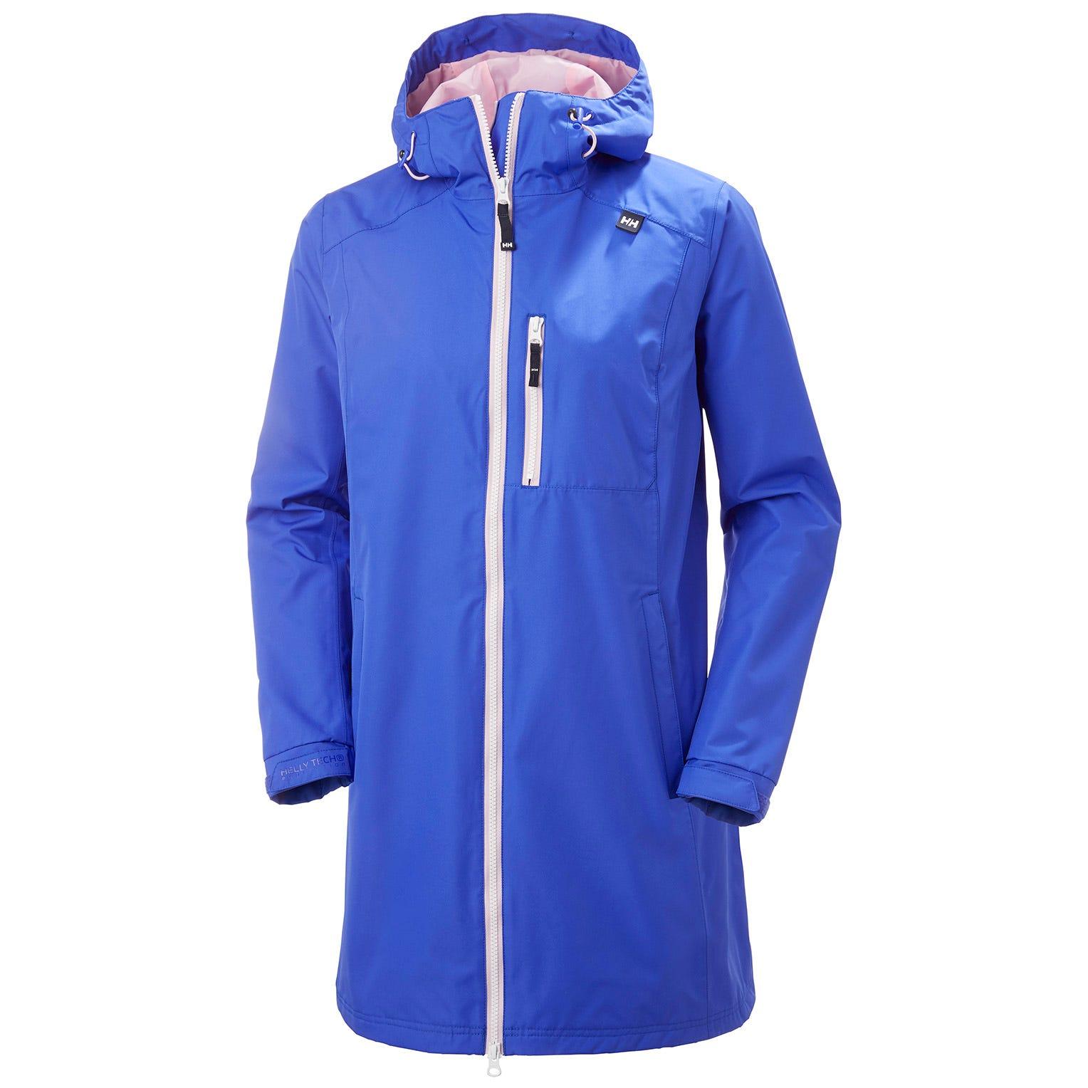 Womens Long Belfast 3/4 Length Rain Jacket | Helly Hansen Womens Blue S