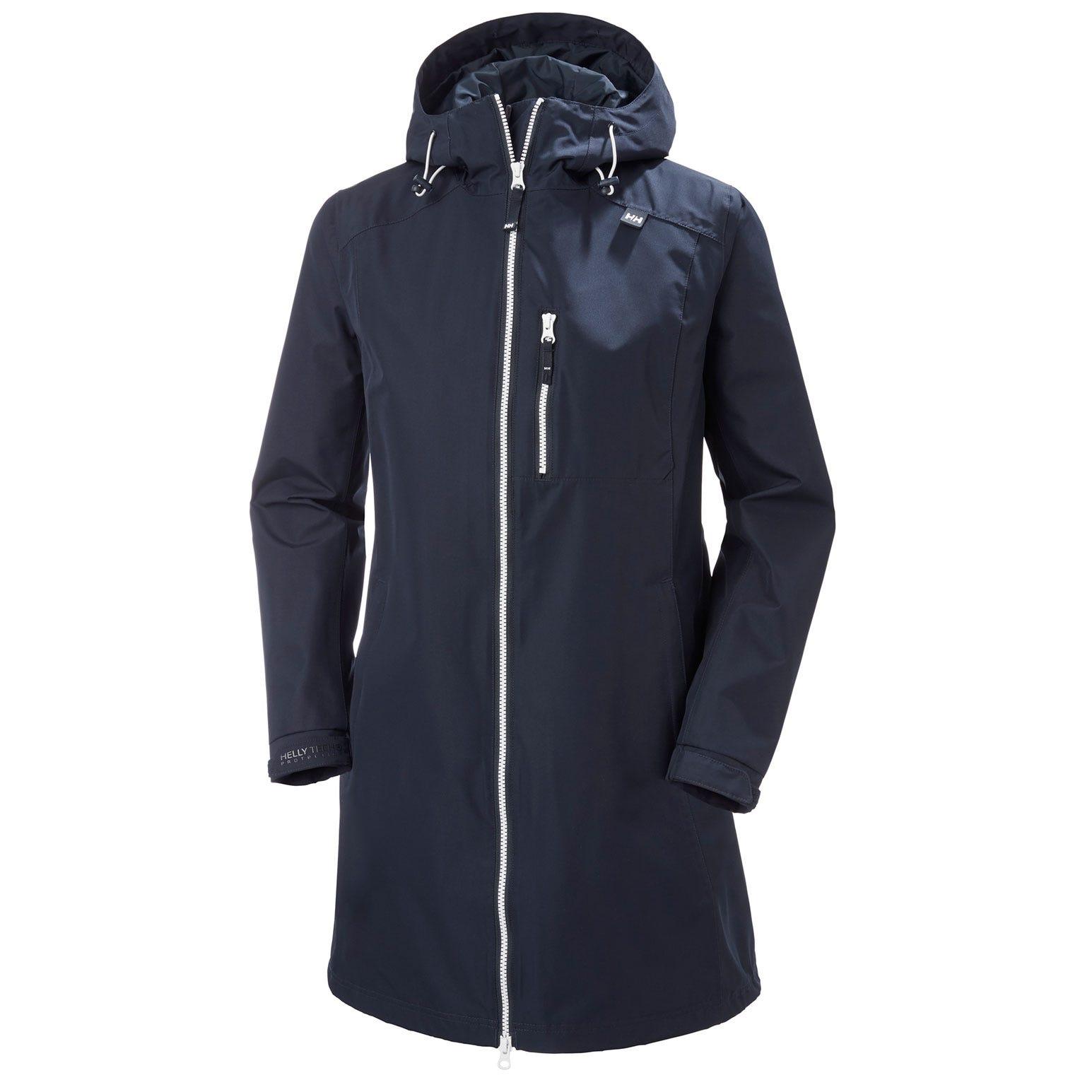 Helly Hansen Womens Long Belfast 3/4 Length Rain Jacket Navy M