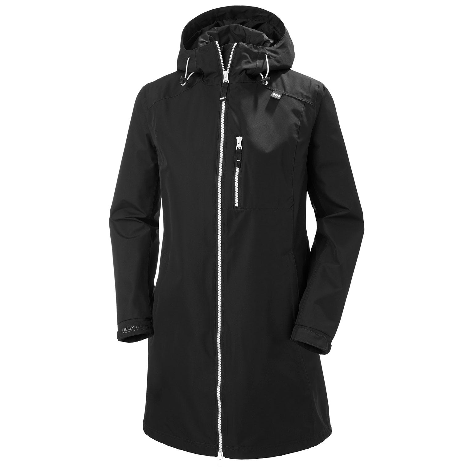 Womens Long Belfast 3/4 Length Rain Jacket | Helly Hansen Womens Black S