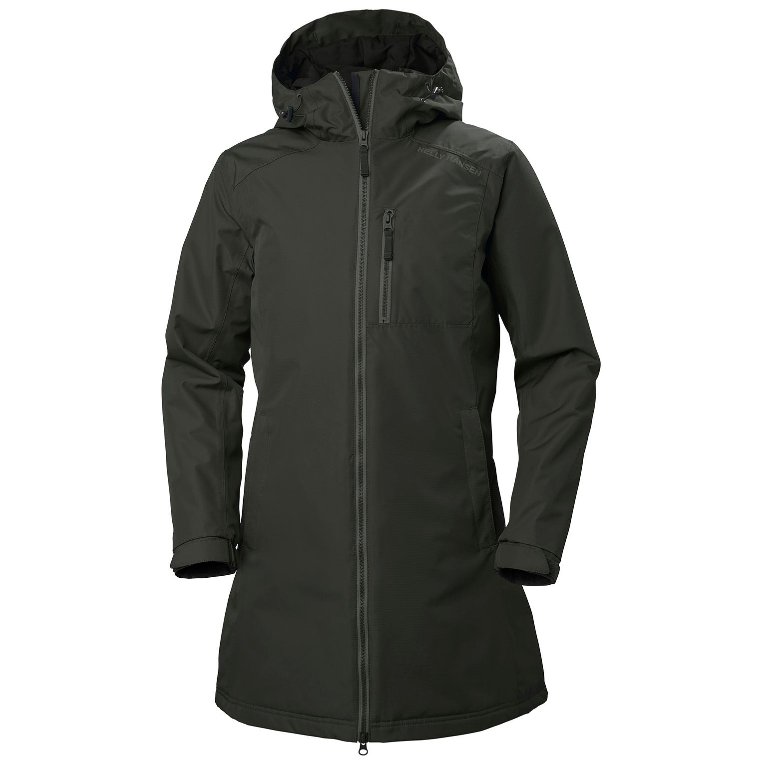 Helly Hansen Womens Long Belfast Winter Jacket Parka Green XS