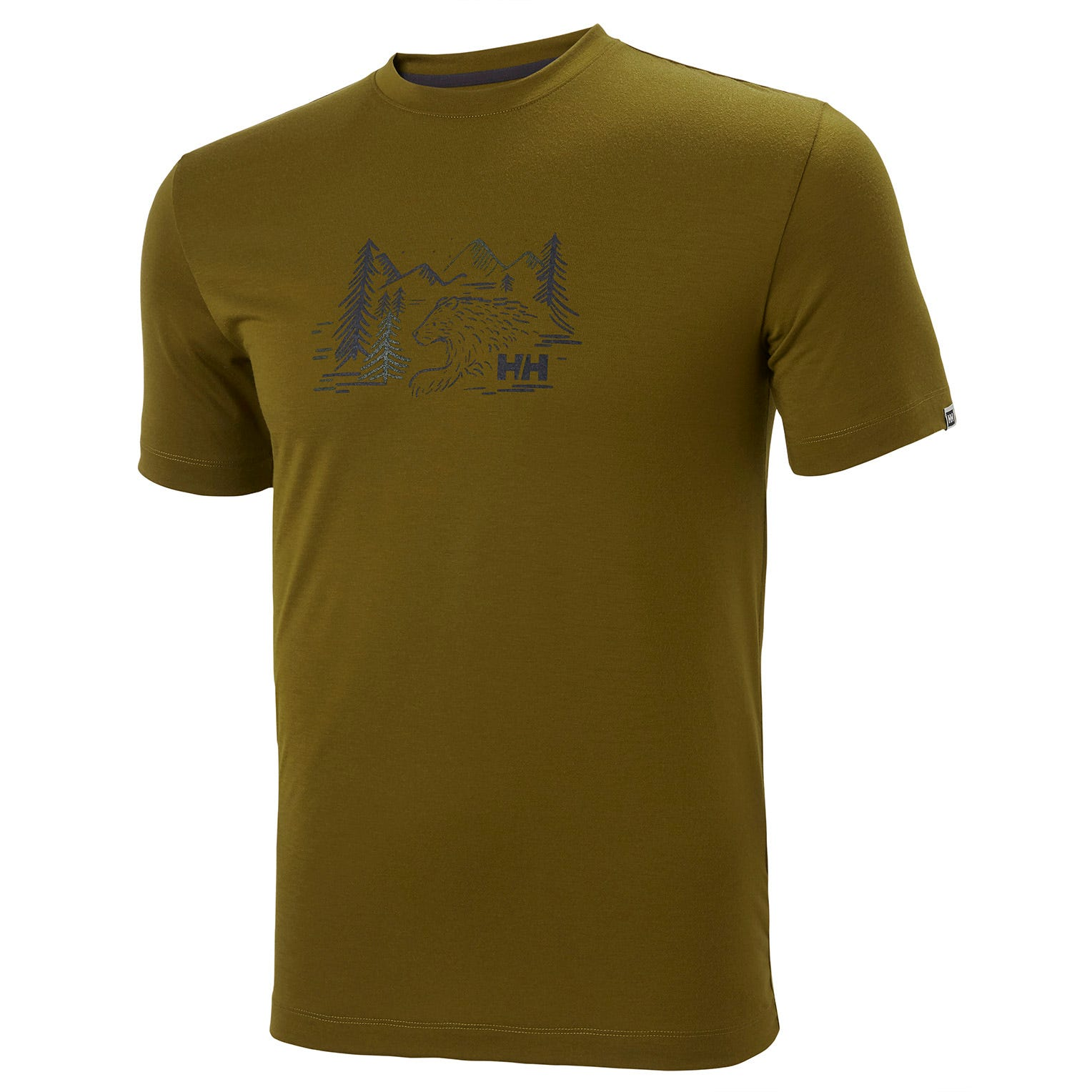 Helly Hansen Mens Skog Graphic Recycled Polyester T-shirt Green S