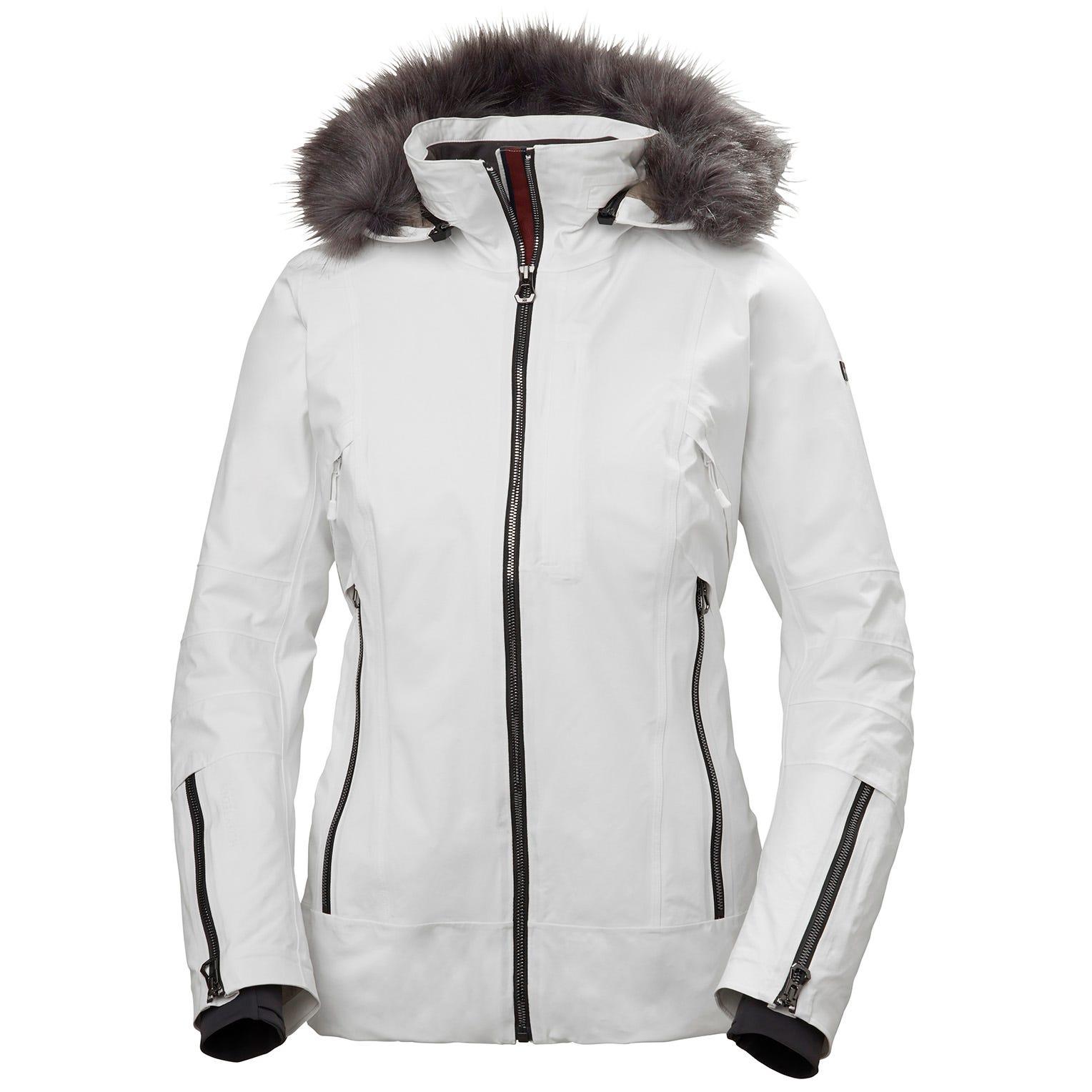 Helly Hansen Womens Snowdancer Ski Jacket With Faux Fur Hood White XL