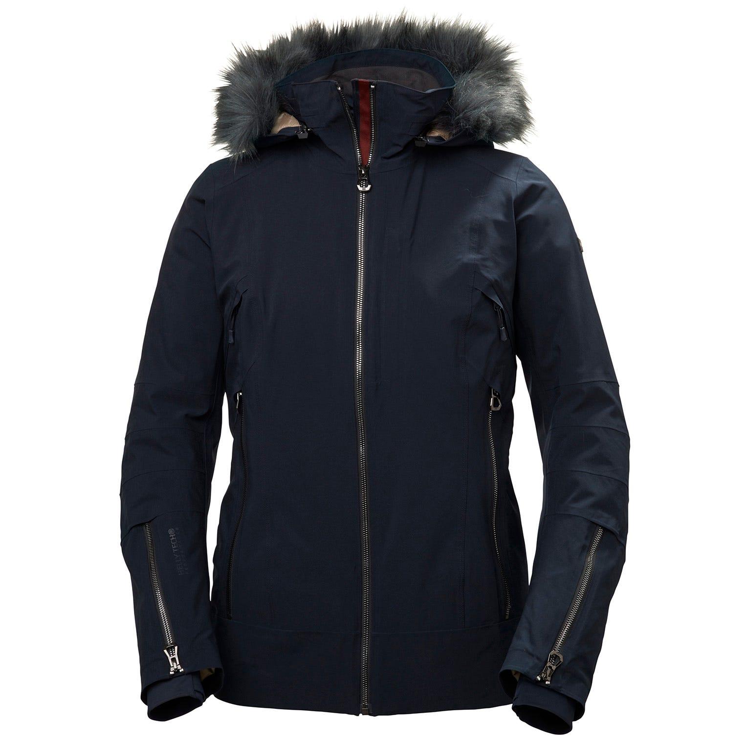 Helly Hansen Womens Snowdancer Ski Jacket With Faux Fur Hood Navy XL