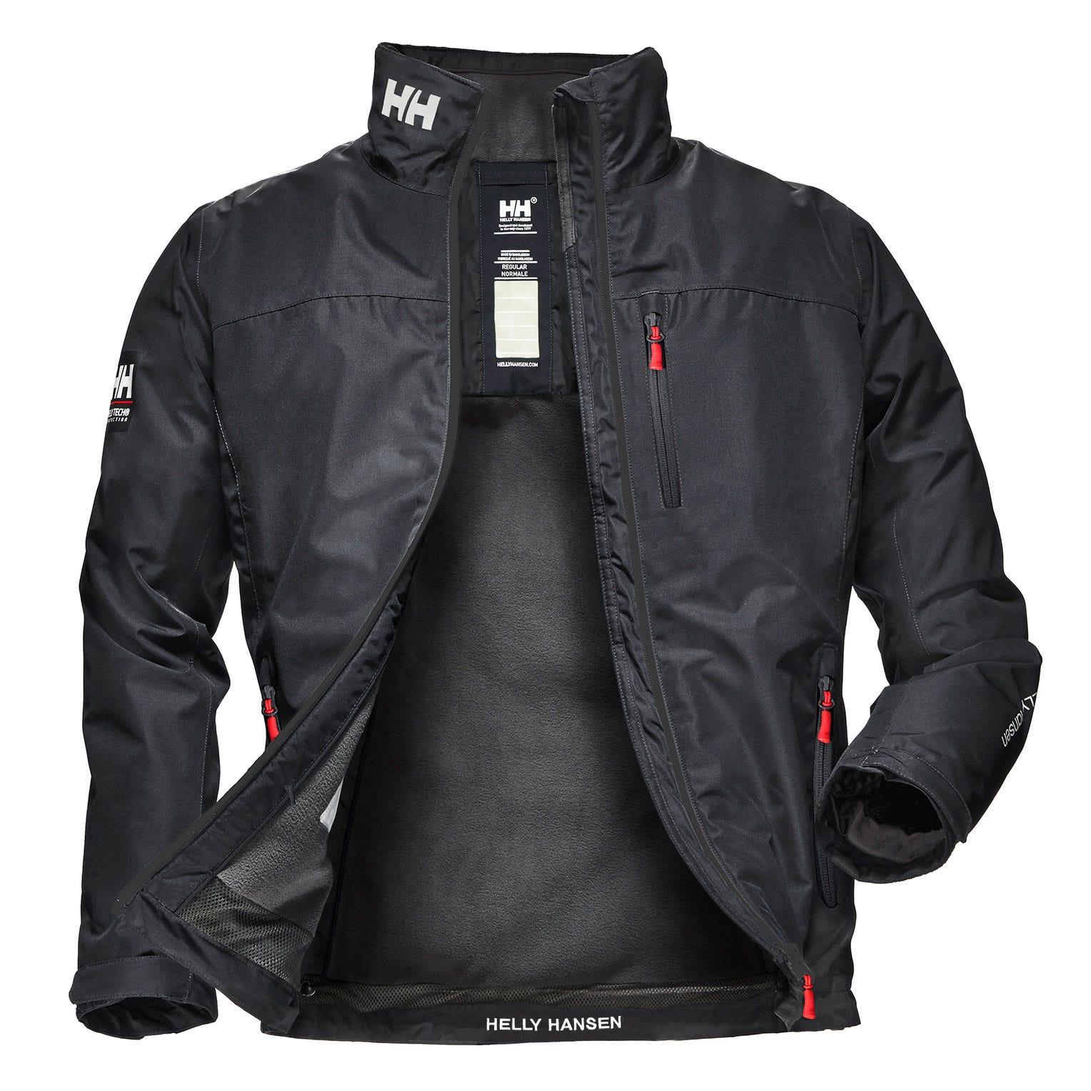 Helly-Hansen mens Crew Midlayer Fleece Lined Waterproof Windproof Breathable Rain Coat Jacket