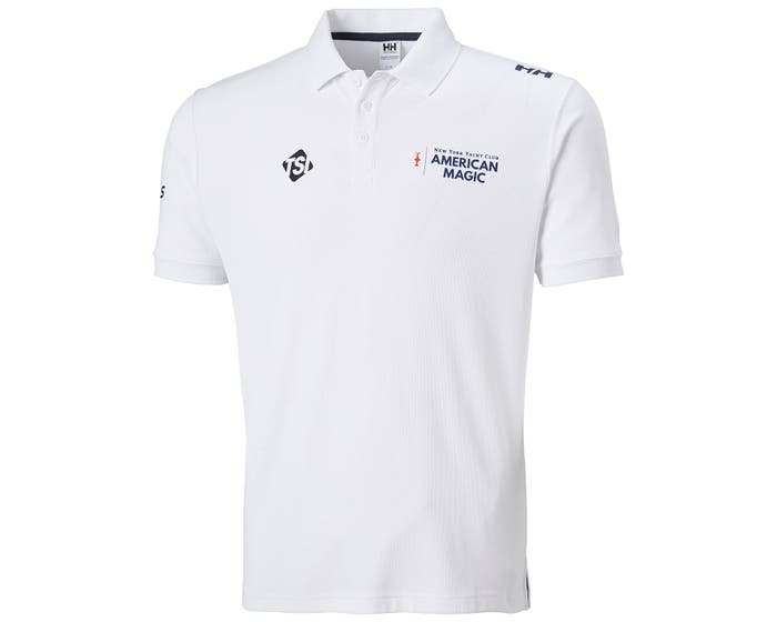 Front view of the Helly Hansen Riftline Polo with American Magic logo.