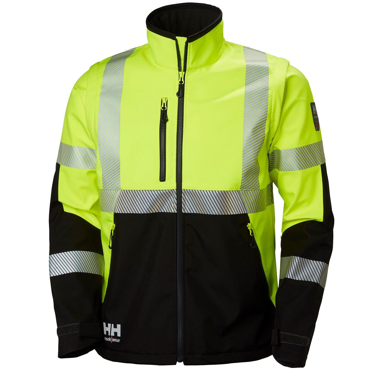 Helly Hansen Mens ICU Shell Hi Vis Adjustable Hood Workwear Jacket