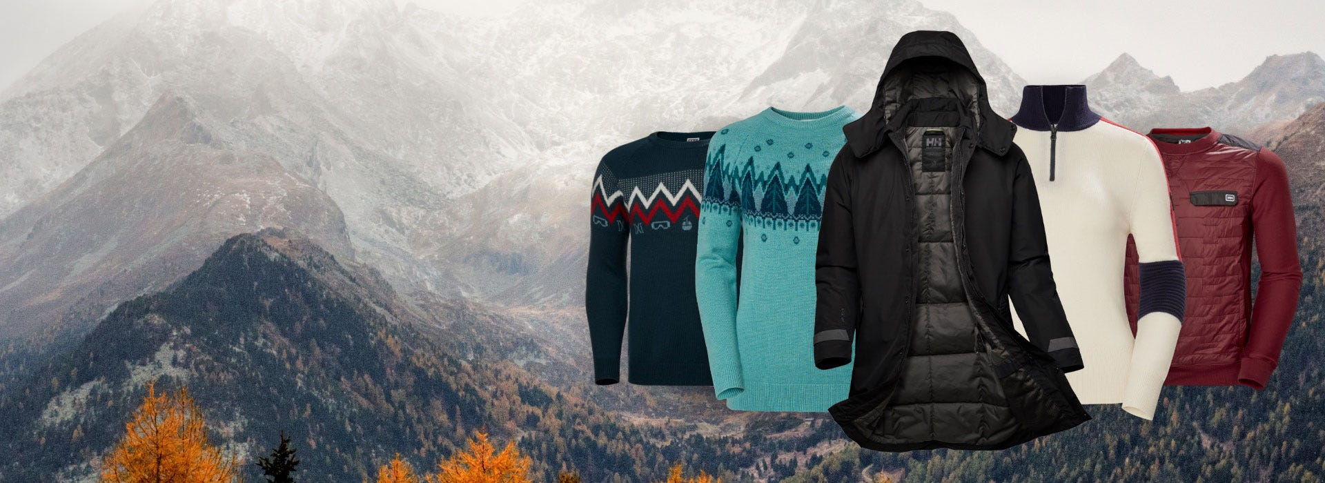 NEW ARRIVALS PRODUCTS ON MOUNTAIN BACKDROP