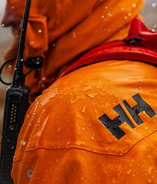 Norwegian People's Aid worker in Helly Hansen jacket