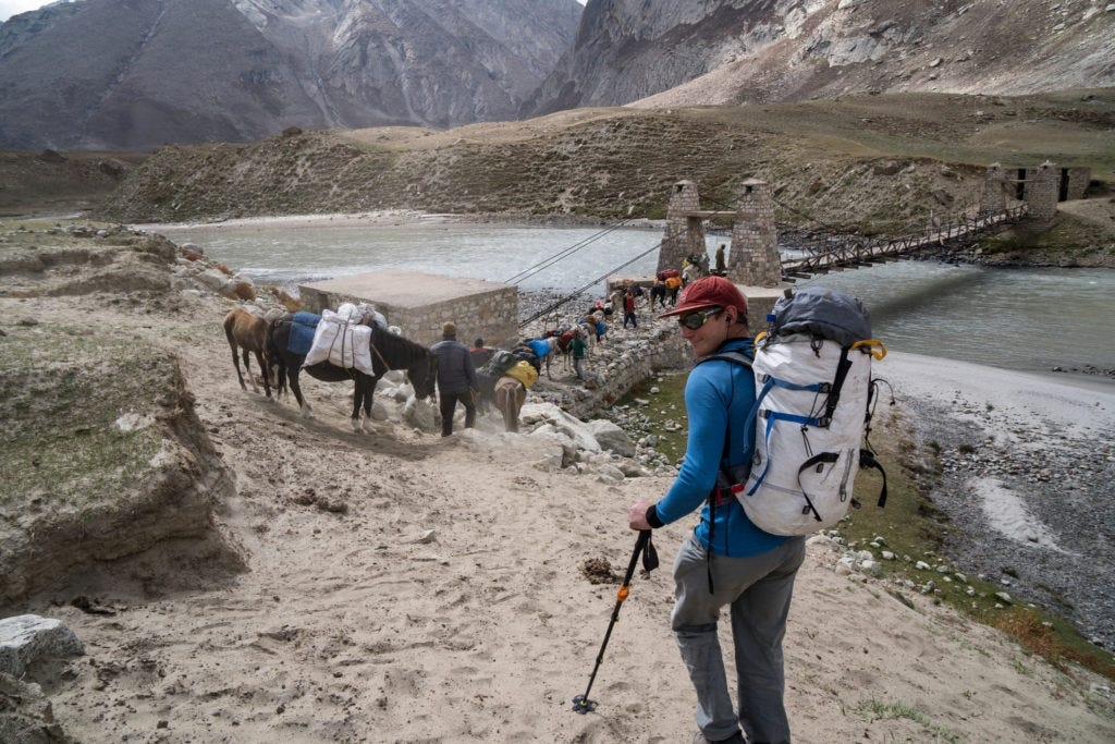 Tino Hiking Villanueva into the Zanskar Range in Northern India