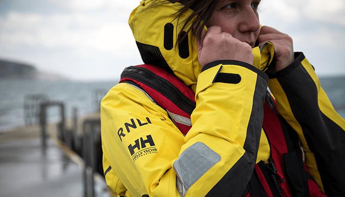 Volunteer wearing the life saving RNLI kit