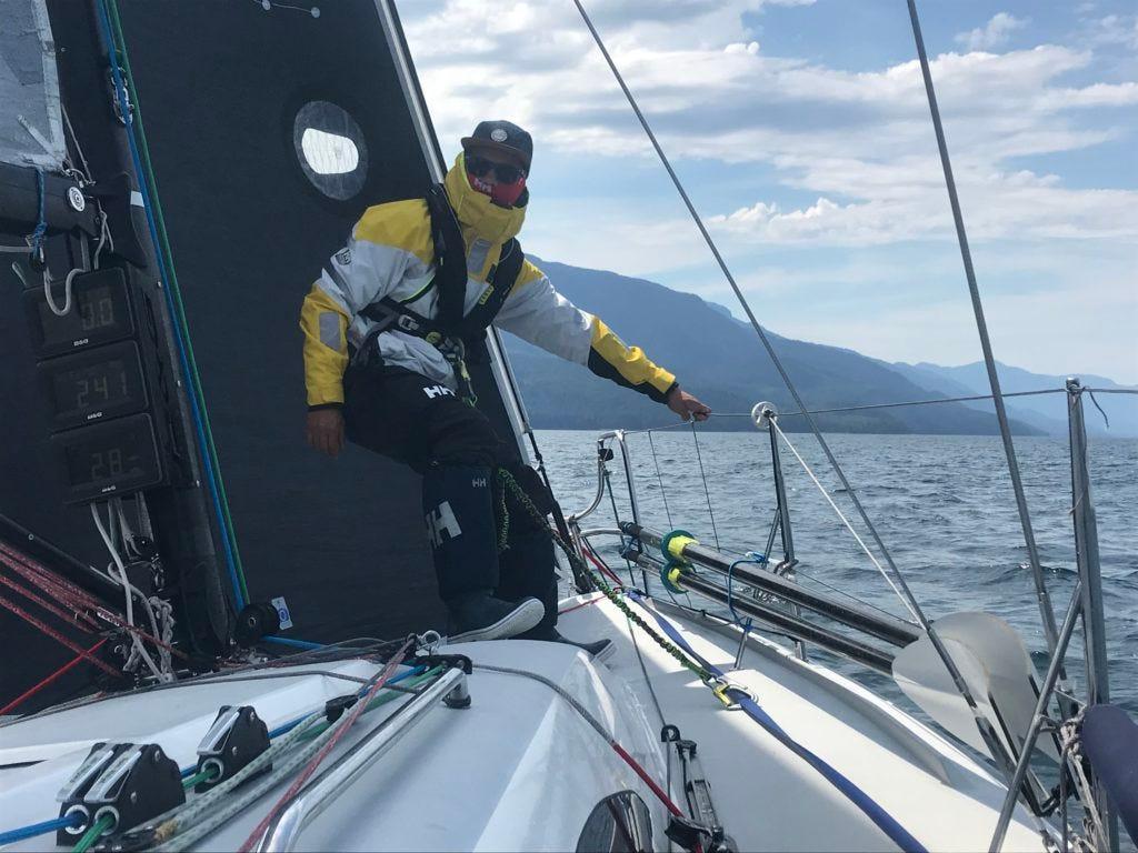 "Team BlueFlash on a J/88, a 29'2"" monohull sailboat"