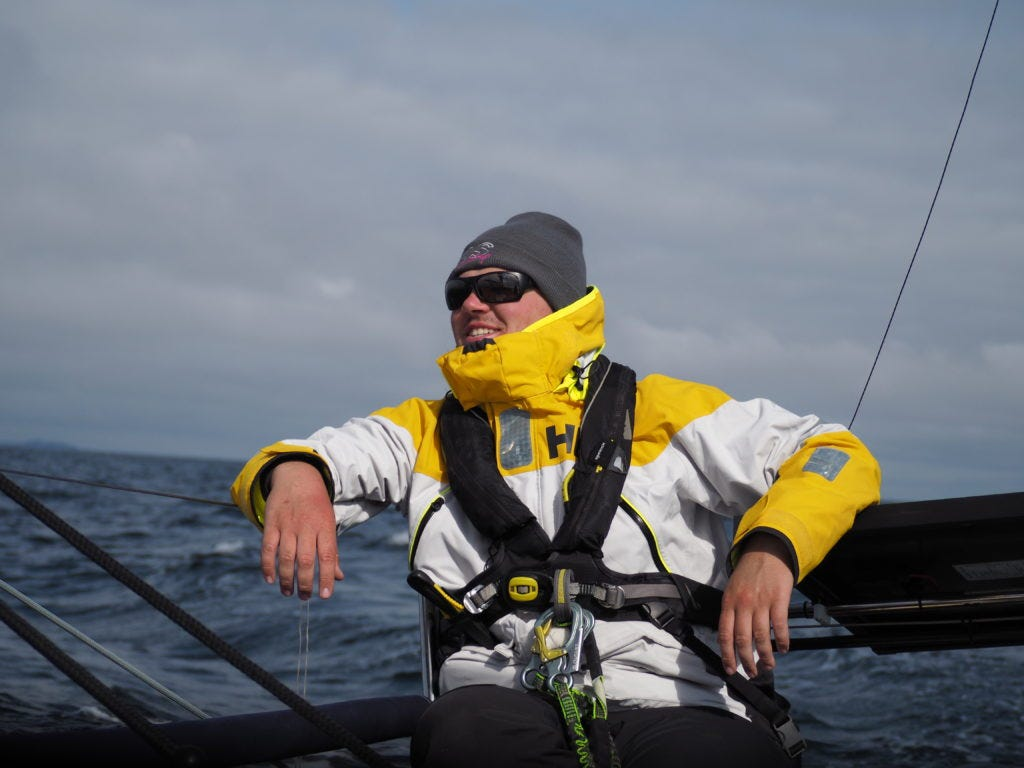 Skipper Sean enjoying a good time on the boat