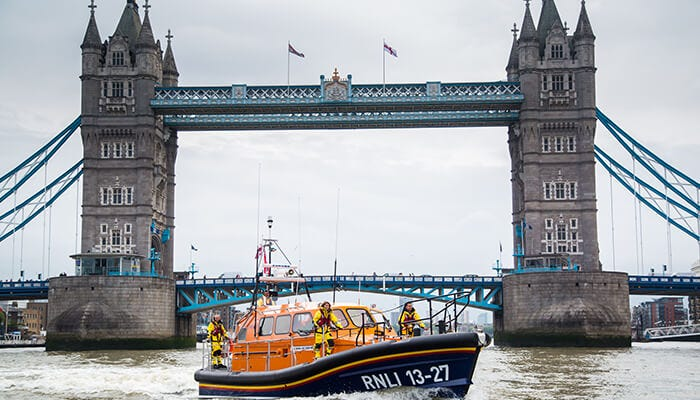 RNLI crew operating from lifeboat pier on the River Thames