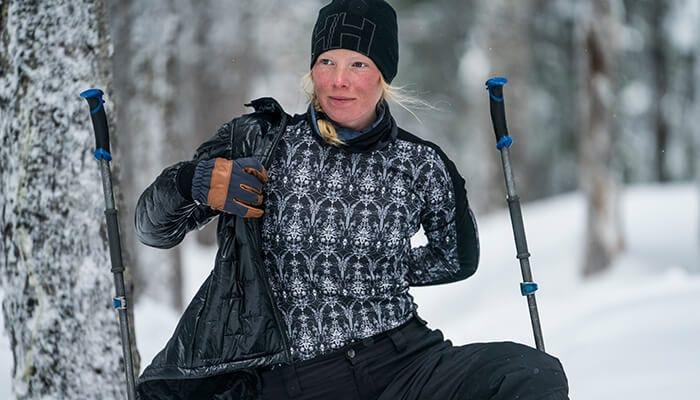 Jill in Helly Hansen Lifa Merino Graphic Crew baselayer