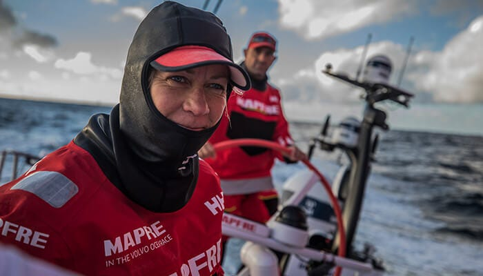 Sophie and her team in the Volvo Ocean Race