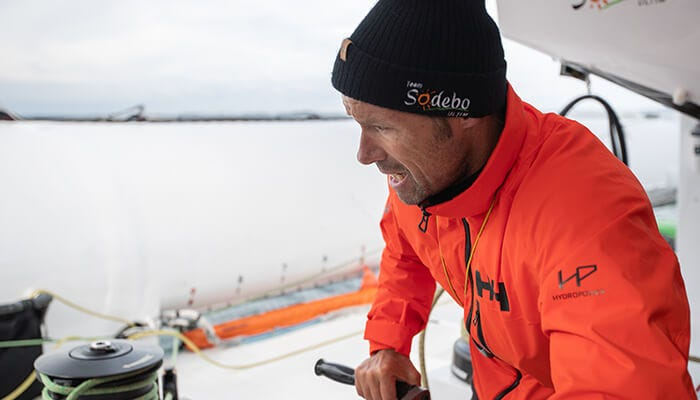 Around the world sailing record holder Thomas Coville