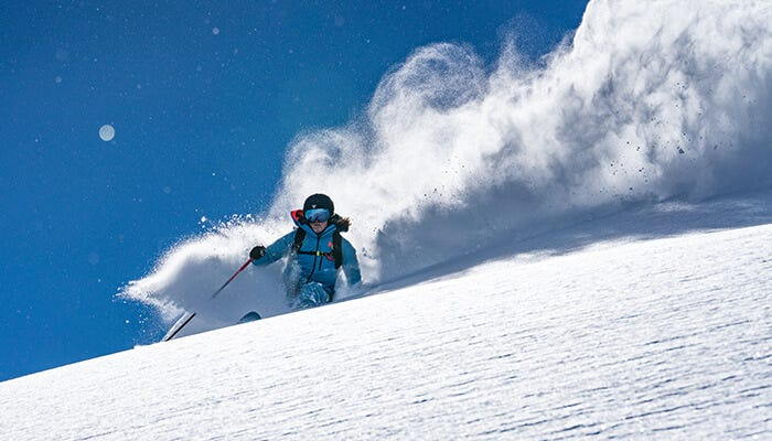 Erin Mielzynski enjoys the Chamonix powder