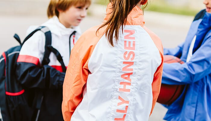 kids playing in the junior active jackets