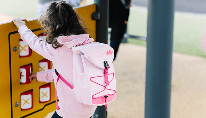 little girl in the outdoor backpack