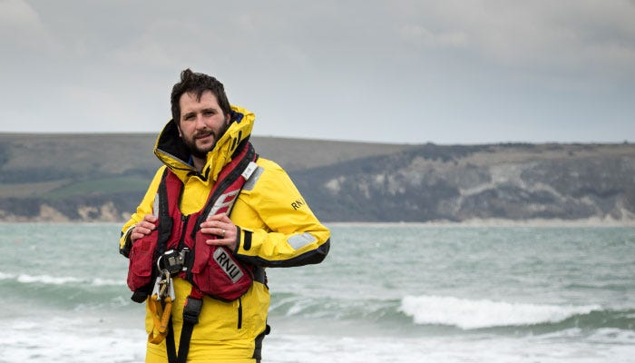 Swanage crew member Richard Lloyd wearing the new Helly Hansen ALB kit.