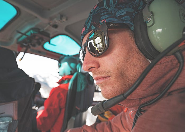Jim Ryan stares out the helicopter window.